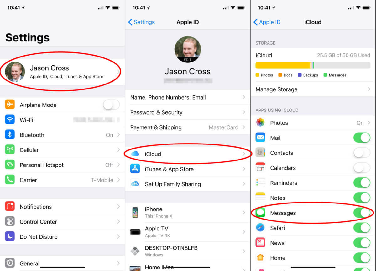 Activation des messages via iCloud