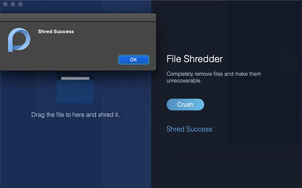File Manager Shred Success Alert