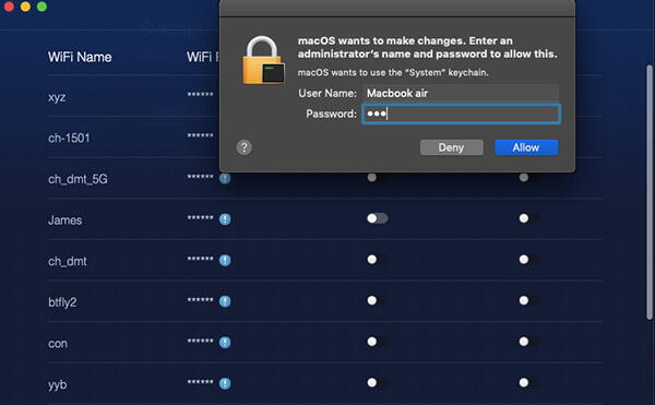 wifi network sweep enter passcode