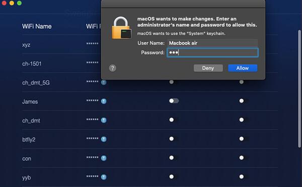 wifi network sweep passcode eingeben