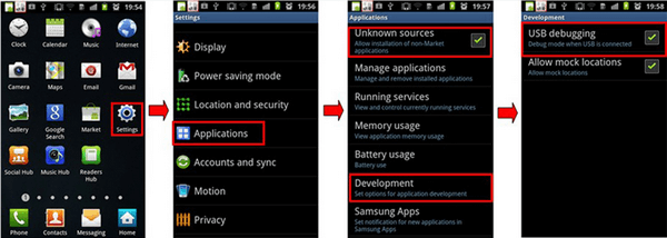 Android 2.3 or Earlier: Enable USB Debugging