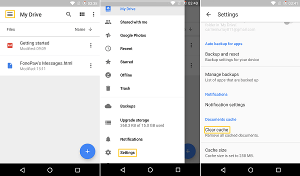 Google Drive Clear Cache And Data