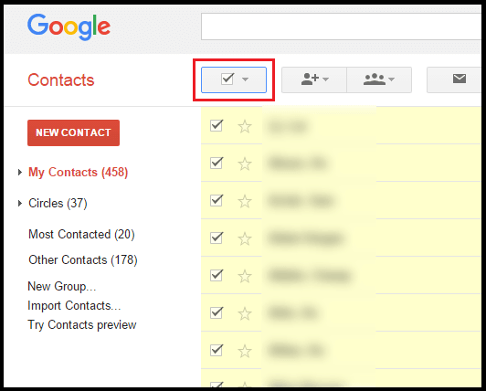 Google Select All Contacts