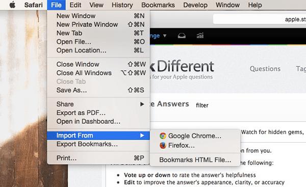 从Chrome到Safari导入书签