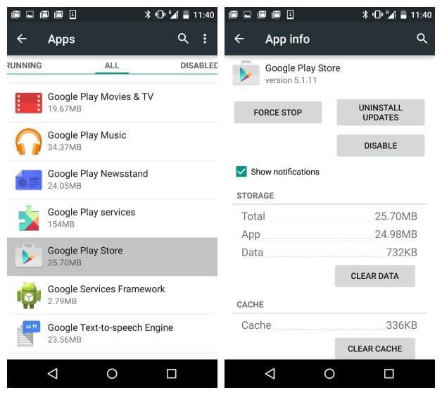 Solucione el código de error 920 Android Clear Cache
