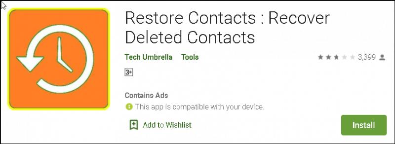 Restaurer les contacts pour récupérer les contacts supprimés