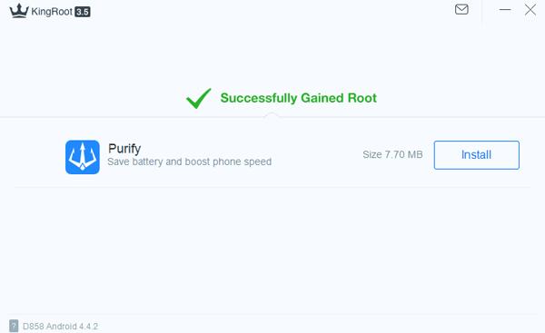 Kingroot Root avec succès