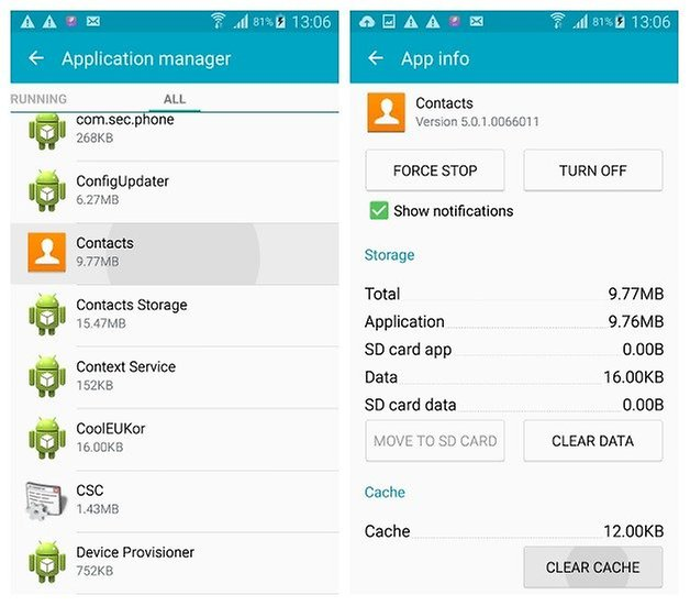 Clear Cache Samsung Galaxy S6 aplicación