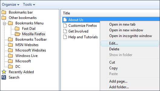 Chrome-Lesezeichen sichern Lesezeichen bearbeiten