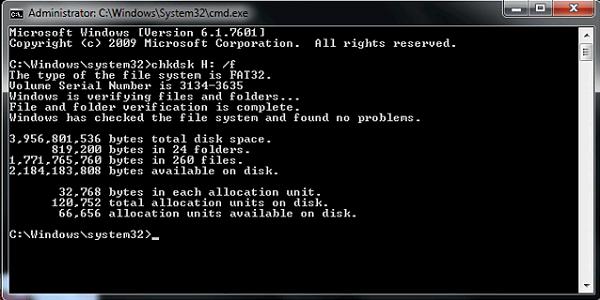 Chkdsk命令修复损坏的卡