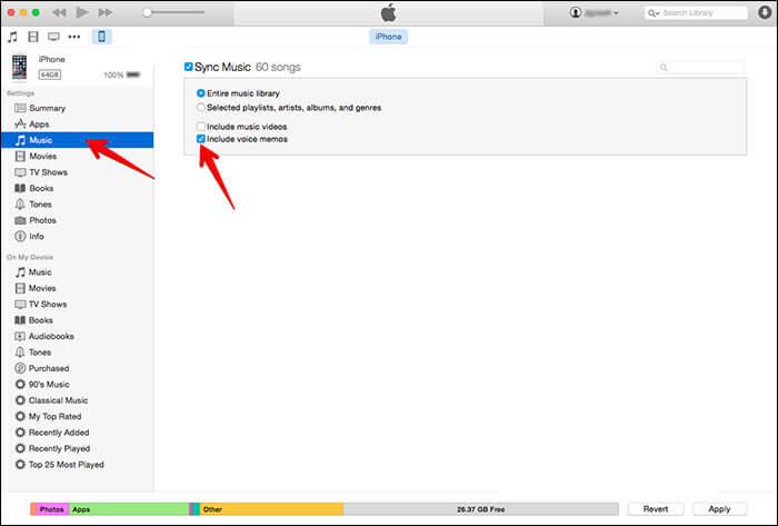 傳送語音備忘錄等,iPhone到電腦使用,iTunes的