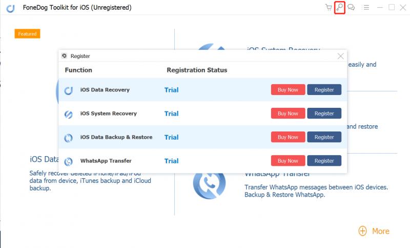 注册Fonedog iOS数据恢复菜单