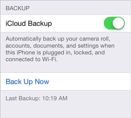 Copia de seguridad de iPhone a Mac a través de iCloud