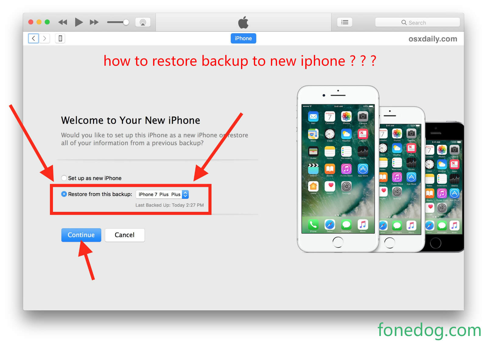 恢复备份到新iPhone