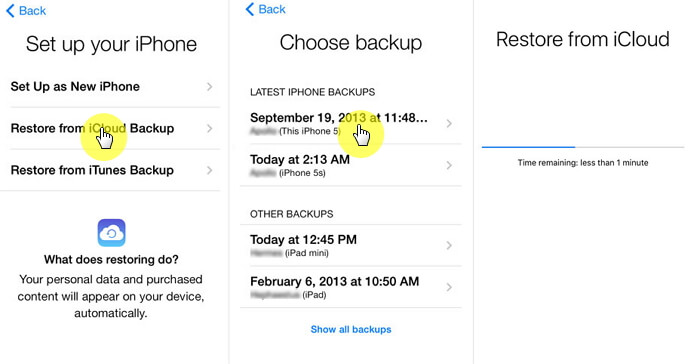 transfer data from iPhone to another via iCloud