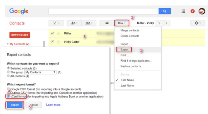 export contact from iCloud to Google