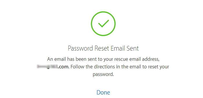 ID de Apple Restablecimiento de contraseña Correo electrónico enviado