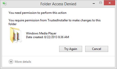"""""""文件夹访问被拒绝""""错误"""