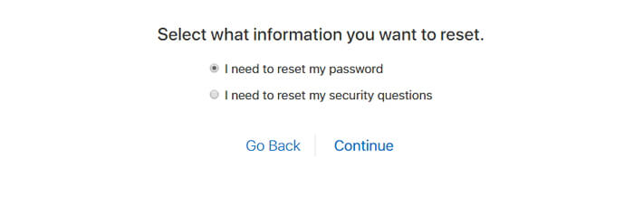 Reset Password Or Security Questions