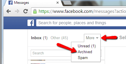 Search Facebook Archived