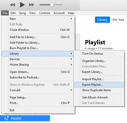 Export the Music Playlist