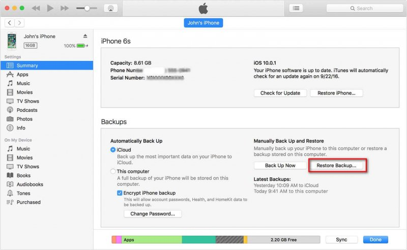 Backup and Restore from iTunes