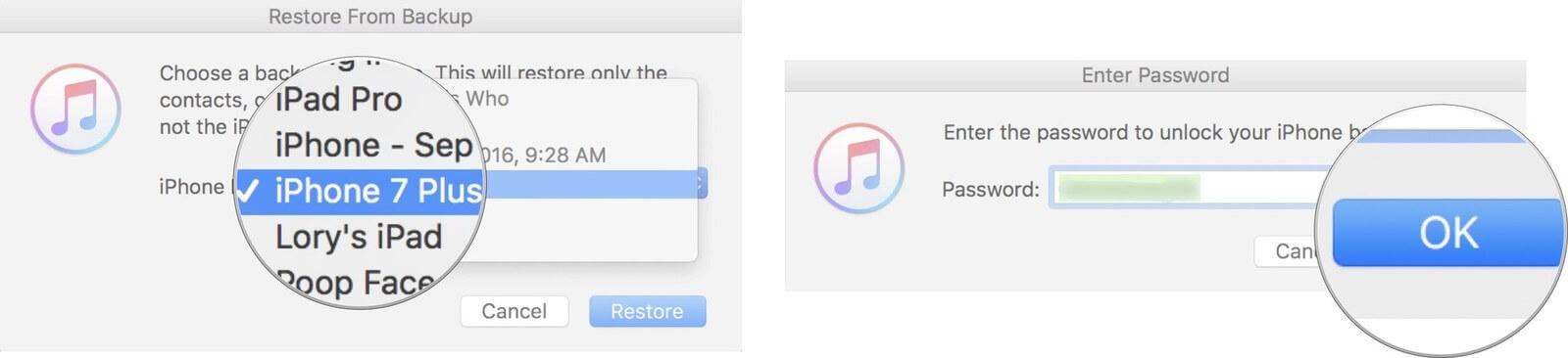 バックアップからのiTunesの復元