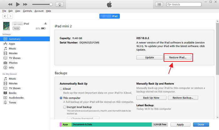 Restaurar a través de iTunes Ipad