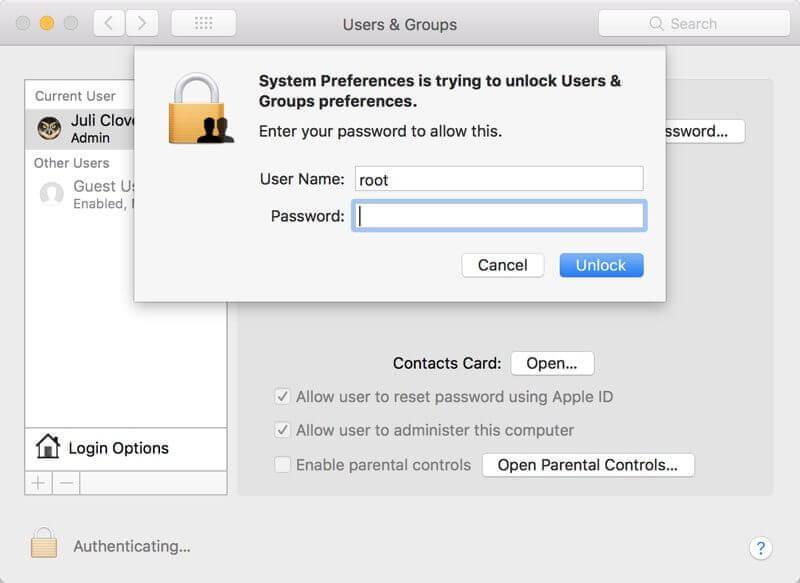 Apple Mac OS High Sierra의 루트 버그