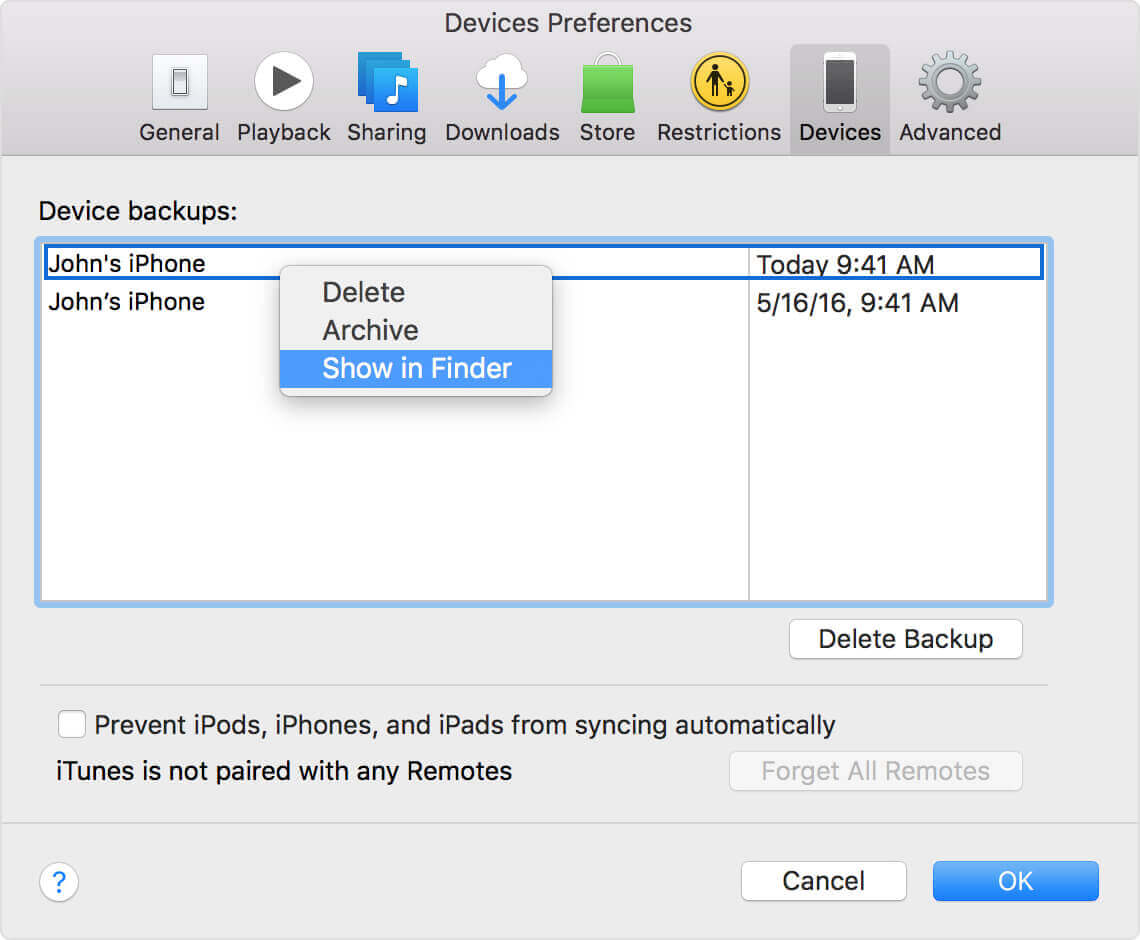 Show iTunes Backup Location on Mac