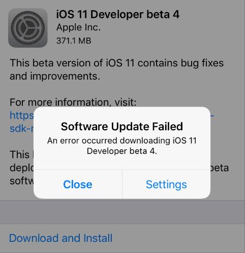 Aggiornamento software iOS non riuscito