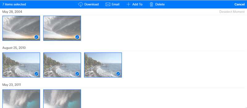 seleziona foto icloud