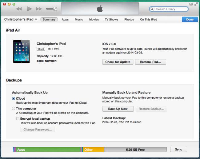 使用iTunes備份iPad數據