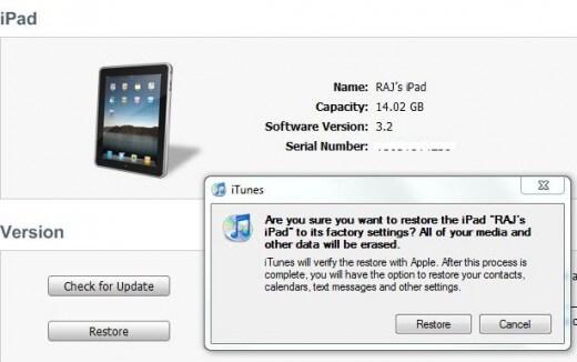 iPad的工廠設定