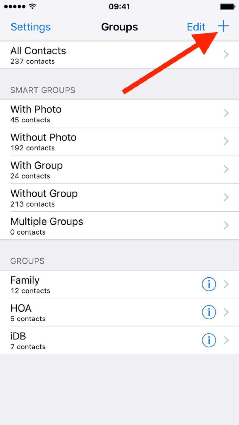 在Iphone上创建新的联系人组