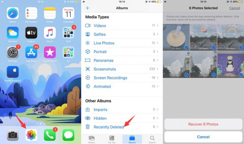 "Check ""Recently Deleted"" to Recover Deleted Photos from iPhone"