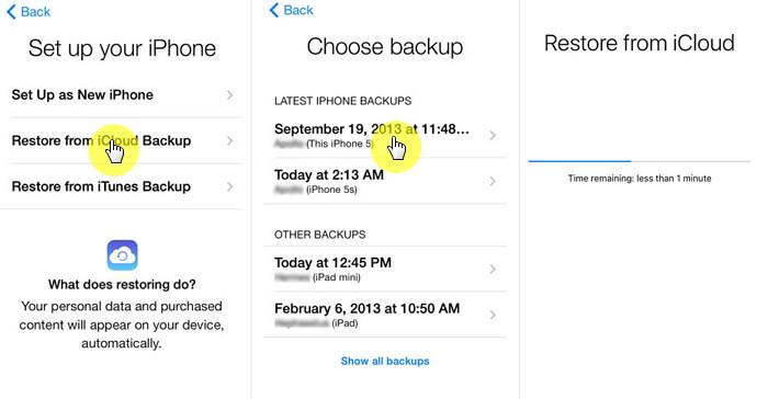 恢復-iphone從 -  icloud的備份
