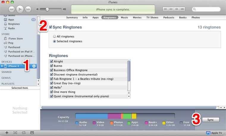Sync The New Ringtone to iTunes