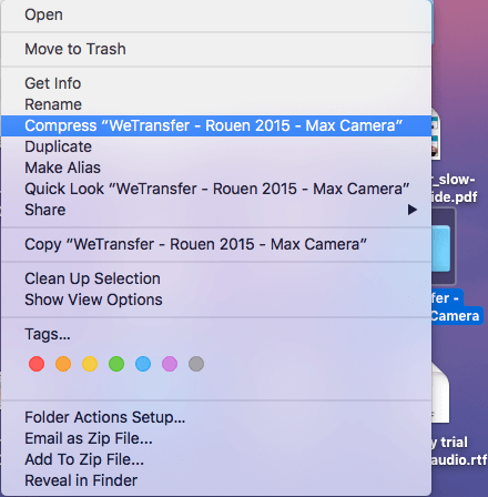 Créer un fichier Zip sur un fichier de compression Mac