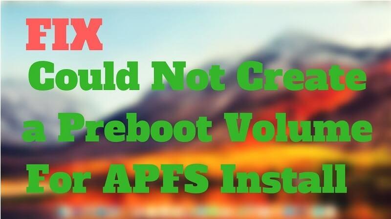 修復無法為Apfs安裝創建預引導卷