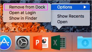 卸載Microsoft Office Dock