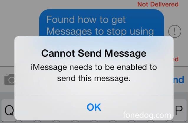 Correggere l'imessage deve essere abilitato per inviare questo messaggio