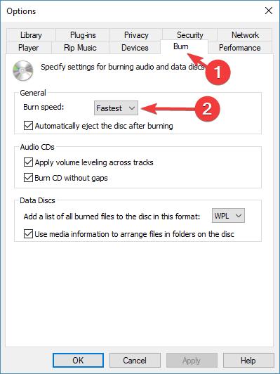 无法刻录某些文件时更改Windows Media Player的速度