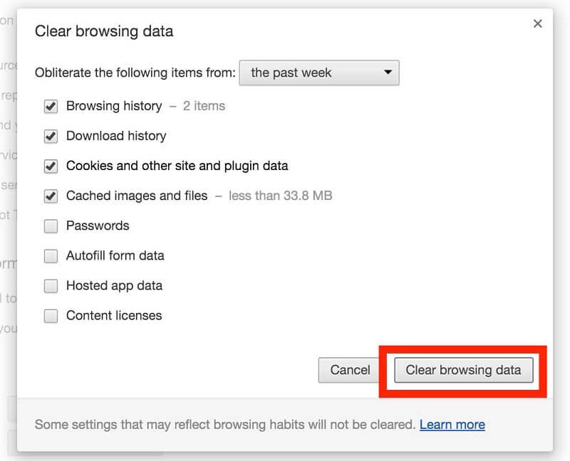 Chrome Effacer les données de navigation sur Mac