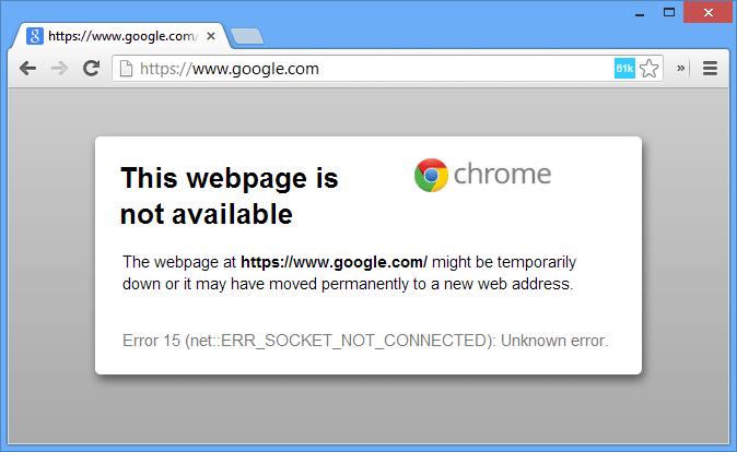 Chrome no se conecta a Internet