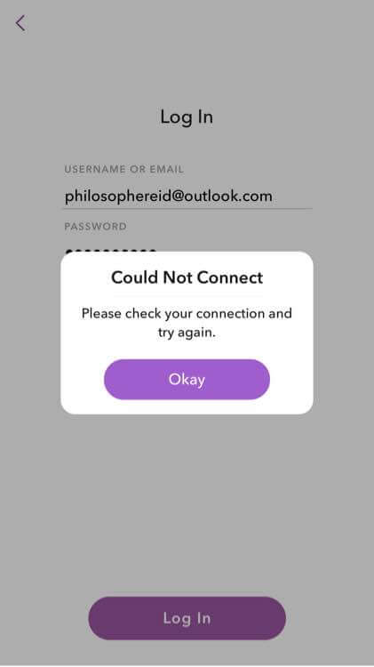 Snapchat Can't Connect Network