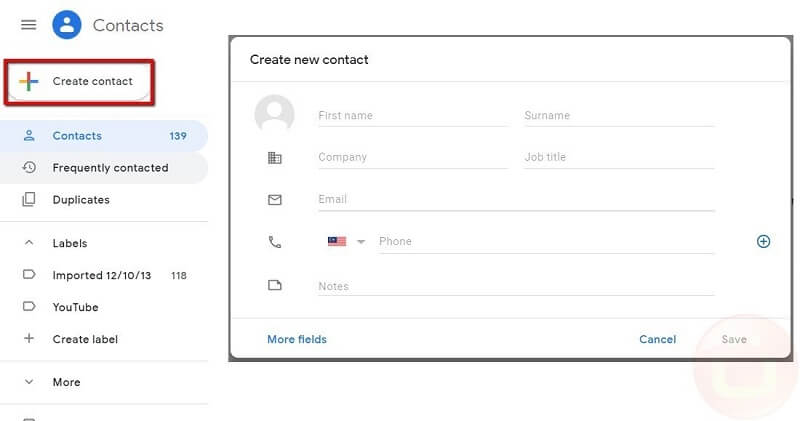 Create Gmail Contacts