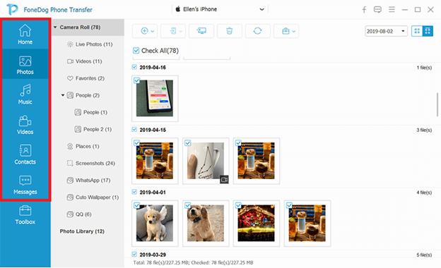 Fare clic su Tipo di dati per trasferire i dati da un iPad a un altro