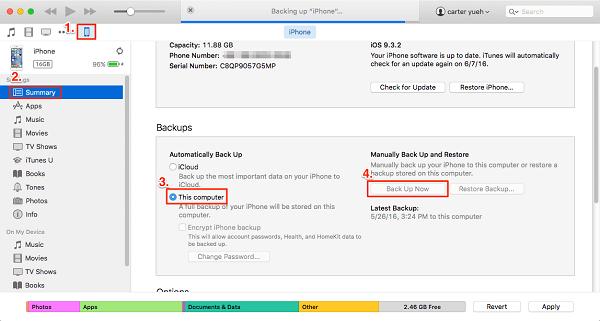 Transferir datos de iPhone a iPhone a través de Itunes