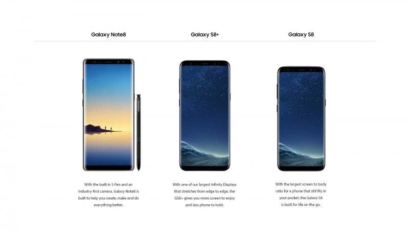 Samsung S8 vs Note 8